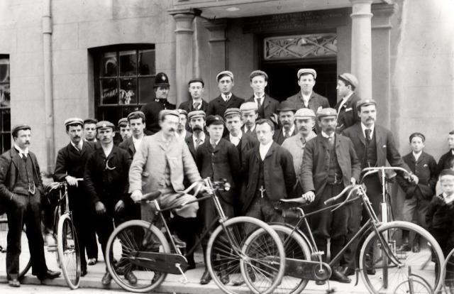 Men on push bikes