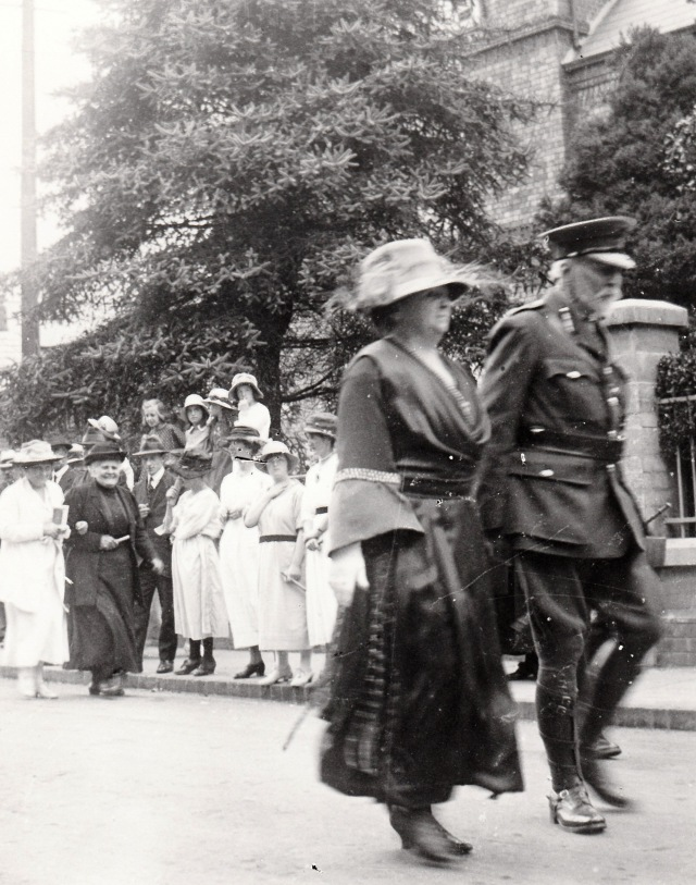 Margararet Lloyd George walks pass Mount Zion on the way to the Hospital